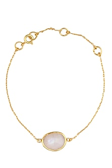 Gold Vermeil Finish Moonstone Bracelet by Carrie Elizabeth