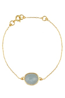Gold Vermeil Finish Aquamarine Stone Bracelet by Carrie Elizabeth