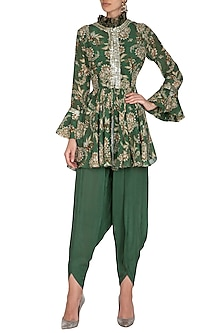 Green Printed & Embroidered Jacket With Dhoti Pants by Chhavvi Aggarwal