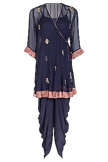Navy Blue Embroidered Kurta With Dhoti Pants & Inner by Chhavvi Aggarwal