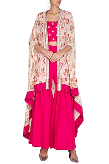 Pink Crop Top & Gharara Pants With Printed Cape by Chhavvi Aggarwal