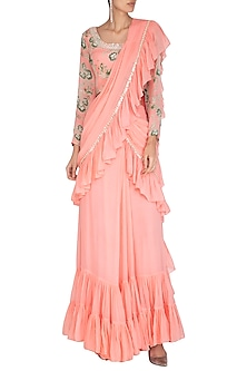 Peach Embroidered Saree Set by Chhavvi Aggarwal