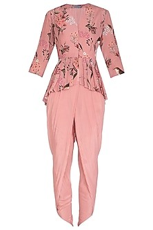 Pink Printed Top With Dhoti Pants by Chhavvi Aggarwal