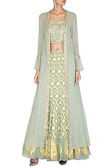 Sage Green Banarasi Jacket Lehenga Set by Chhavvi Aggarwal