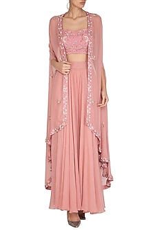 Pink Embroidered Blouse With Palazzo Pants & Cape by Chhavvi Aggarwal