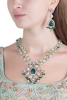 Gold Finish Emerald Pendant Necklace Set by Chhavi's Jewels