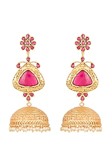 Gold Polish Ruby Stones Jhumka Earrings by Chhavi's Jewels