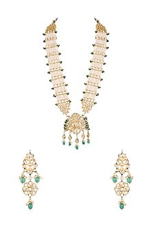 Gold Finish Pearl, Kundan & Emerald Stones Rani Haar Necklace Set by Chhavi's Jewels