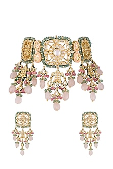 Gold Finish Pink & Green Stones Choker Necklace Set by Chhavi's Jewels