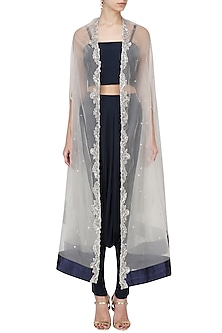 3f05f8d80 White Zardozi Embroidered Cape with Navy Blue Dhoti and Crop Top Set by  Chhavvi Aggarwal