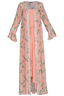 Peach Draped Dress With Printed Embroidered Jacket by Chhavvi Aggarwal