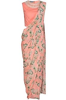 Peach Pearl Dhoti Pant Saree Set by Chhavvi Aggarwal