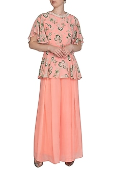 Peach Printed Pearl Peplum Top With Pleated Pants by Chhavvi Aggarwal