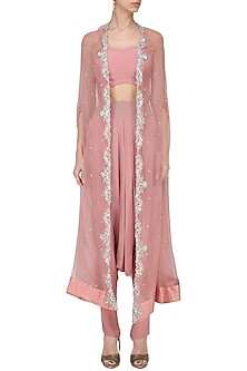 Onion Pink Embroidered Cape with Dhoti Pants and Crop Top Set by Chhavvi Aggarwal