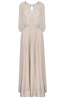 Nude Off Shoulder Gown with Embroidered Cape