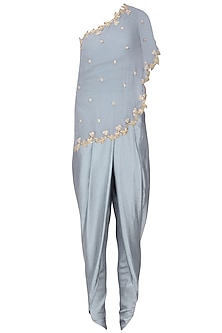 Grey Embroidered Cape with Dhoti Pants and Top Set