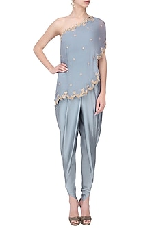Grey Embroidered Cape with Dhoti Pants and Top Set by Chhavvi Aggarwal
