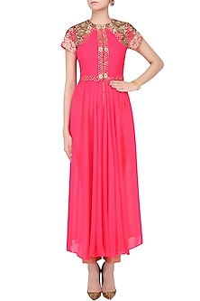 Pink Drape Jacket With Pants by Chhavvi Aggarwal