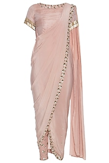 Nude embroidered drape saree kurta with pants
