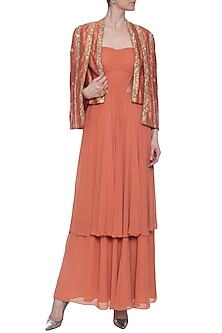 Rust embroidered gown with jacket by CHHAVVI AGGARWAL