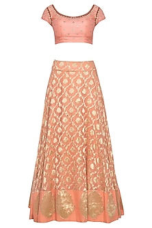 Peach embroidered banarasi lehenga set