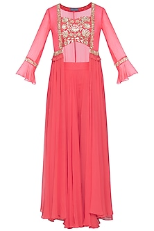 Coral embroidered blouse with palazzo pants and jacket