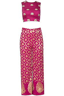 Rani pink embroidered crop top with pants and dupatta by CHHAVVI AGGARWAL