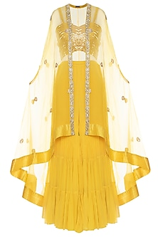 Yellow embroidered sharara set with cape