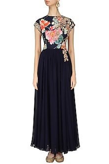Navy Blue Floral Printed Anarkali Set by Chhavvi Aggarwal