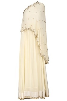 White Zardozi Embroidered Cape Anarkali Set by Chhavvi Aggarwal