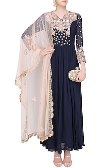 Navy Blue and Nude Embroidered Anarkali Set by Chhavvi Aggarwal