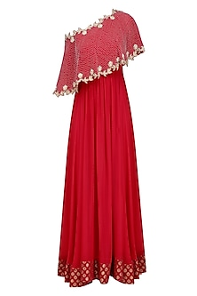 Red Embroidered One Off Shoulder Cape Anarkali Set by Chhavvi Aggarwal