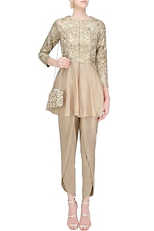 Beige Embroidered Jacket with Tulip Pants by Chhavvi Aggarwal