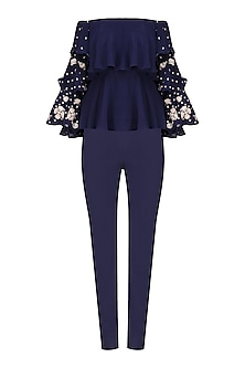Navy Embroidered Off Shoulder Top with Pants and Embellished Choker by Chhavvi Aggarwal