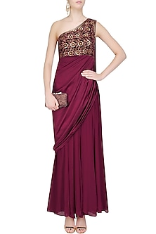 Wine Embroidered One Shoulder Draped Gown by Chhavvi Aggarwal