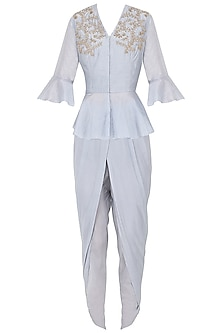 Powder Blue Peplum Top and Dhoti Pants by Chhavvi Aggarwal