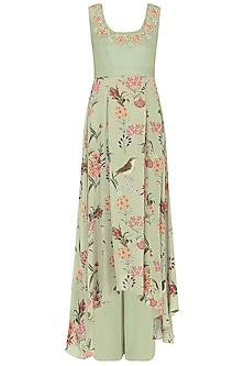 Sage Green Floral Printed Top and Wide Legged Pants by Chhavvi Aggarwal