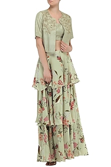 Sage Green Printed Tiered Skirt with Jacket and Blouse by Chhavvi Aggarwal