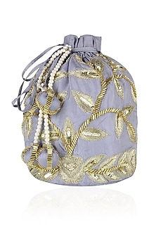 Grey and Gold Dori Leaf Embroidered Potli Bag by Chhavvi Aggarwal