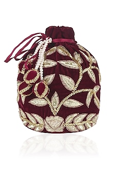 Wine and Gold Dori Leaf Embroidered Potli Bag by Chhavvi Aggarwal