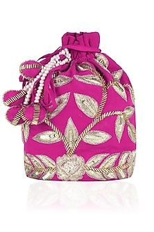 Hot Pink and Gold Dori Leaf Embroidered Potli Bag by Chhavvi Aggarwal