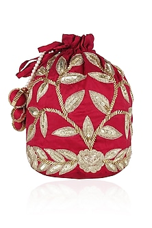 Red and Gold Dori Leaf Embroidered Potli Bag by Chhavvi Aggarwal