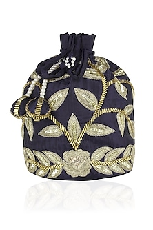 Navy Blue and Gold Dori Leaf Embroidered Potli Bag by Chhavvi Aggarwal