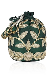 Emerald Green and Gold Dori Leaf Embroidered Potli Bag by Chhavvi Aggarwal