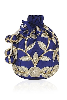 Ink Blue and Gold Dori Leaf Embroidered Potli Bag by Chhavvi Aggarwal