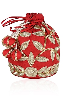 Bright Red and Gold Dori Leaf Embroidered Potli Bag by Chhavvi Aggarwal