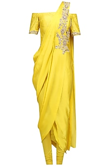 Yellow Floral Embroidered Off Shoulder Drape Saree by Chhavvi Aggarwal