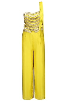 Yellow and  Gold Fringe Detail Jumpsuit
