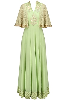 Green Floral Embroidered Cape Anarkali by Chhavvi Aggarwal