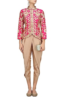 Pink Floral Embroidered Jacket with Gold Dhoti Pants by Chhavvi Aggarwal